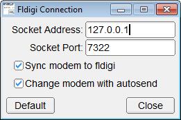 Fenêtre de configuration de la connexion a FLdigi